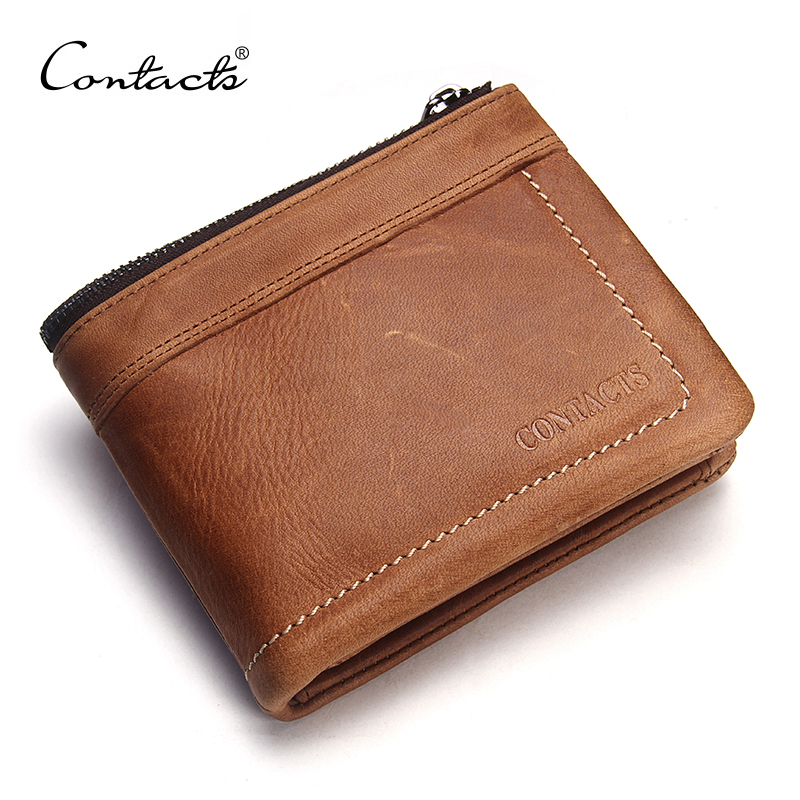 CONTACT'S Genuine Leather Men Wallet Wallets Brand Credit Card Holder 2017 New Design Male Purses High Quality Coins Purse male brief short design wallets credit card holder men purse