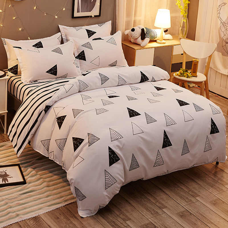 3/4pcs Home King size Bedding set geometric Lemon carrot mushroom duvet cover set crown star flat sheet bed linen duvet cover