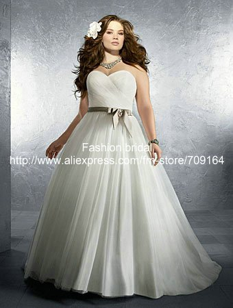 Pretty A Line Sweetheart Neckline Sash Sweep Train Sw106 Princess Plus Size Wedding Dress