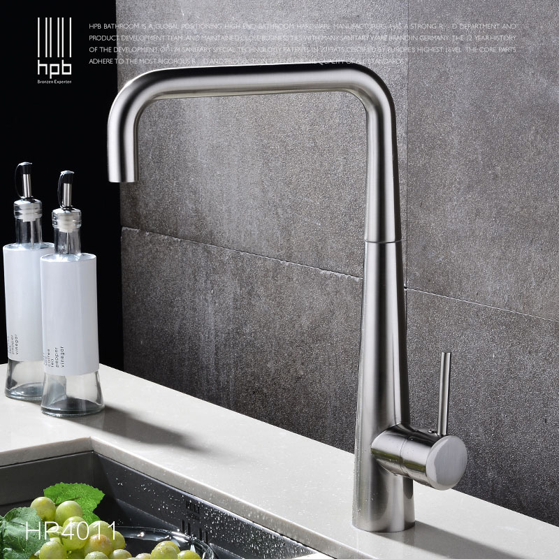 HPB Brass Kitchen Faucet Hot Cold Water Sink Mixer Tap Cold Hot Water taps Brushed Rotary Deck Mounted robinet de cuisine HP4011 hpb brass morden kitchen faucet mixer tap bathroom sink faucet deck mounted hot and cold faucet torneira de cozinha hp4008