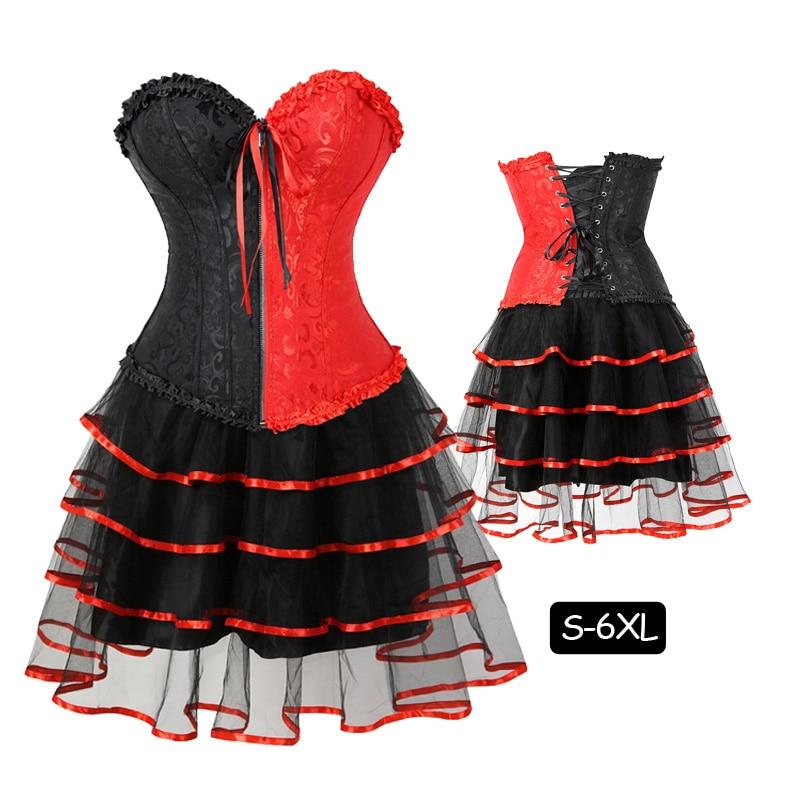 4 Layers Of Lace Tutu-Skirt Waist Training Zipper Bustier Corset Dress Plus Szie Corsets Women Showgirl Costume Tutu Skirts