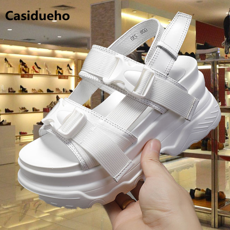 Casidueho Women Platform Sandals Summer High Heels Wedge Shoes Woman Rome New Strap Slippers Outwear Casual Shoes Peep Toe Slide women peep toe sandals summer platform wedge invisible high heels boots rome style side zip casual shoes woman silver blue white