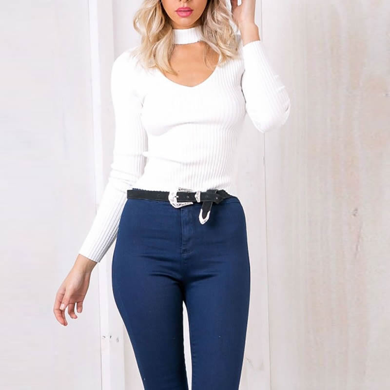 2017 Hot Woman Choker Neck Elastic skinny Blouse black/white/red/grey Top Halter Shirts Women Ladies Office Sexy Blouses