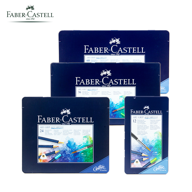 Original Faber Castell 1142 Art GRIP Aquarelle Watercolor Pencils tin of 12/24/26/60 color Art Quality Professional Drawing faber orizzonte eg8 x a 60 active