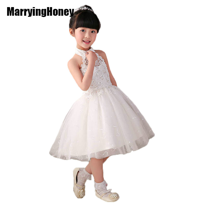 Organza Lace High Neck Flower Girl Dresses White Communion Dress Little  Girls Kids Pageant Gown Wedding Party Children Christmas-in Flower Girl  Dresses from ... 1cf0b5f91bef