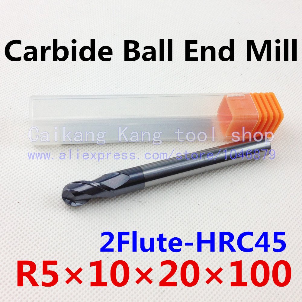 New 2 Flute Head: 10mm Carbide Ball End Mills Tungsten steel cutter  CNC milling Highest cutting hardness: 45HRC R5*10*20*100mm hrc55 r0 2 r0 5 r0 75 r1 0 r0 72 ball end carbide milling cutter tungsten solid steel alloy taper endmill free shipping