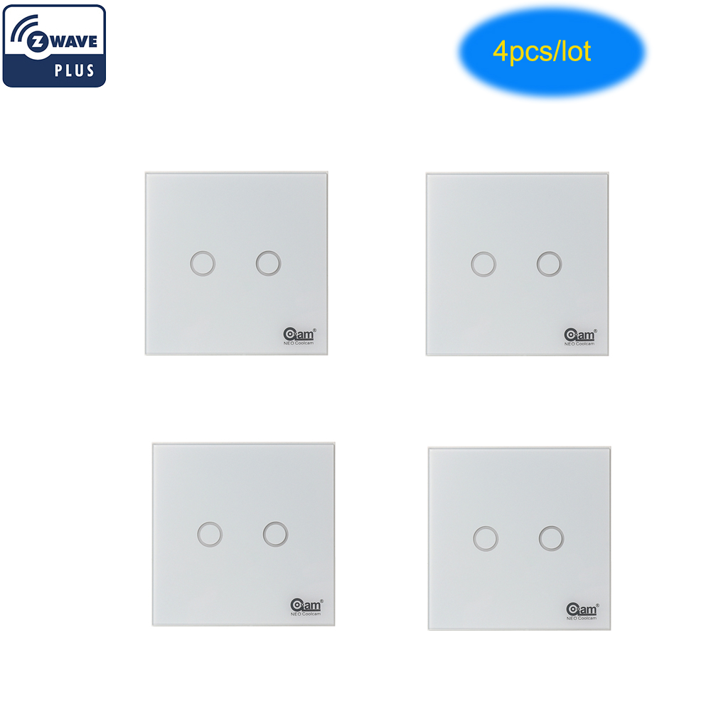 Light Automation Us 83 78 41 Off Coolcam 4pcs Lot Z Wave Plus Wall Light Switch 2ch Gang Home Automation Z Wave Wireless Smart Remote Control Light Switch In