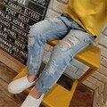 Nueva Llegada 2016 Estilo Coreano de los Bebés Jeans de Moda Pantalones de Mezclilla Parche Chica Primavera Verano Pantalones Ropa de Los Niños de La Venta Caliente