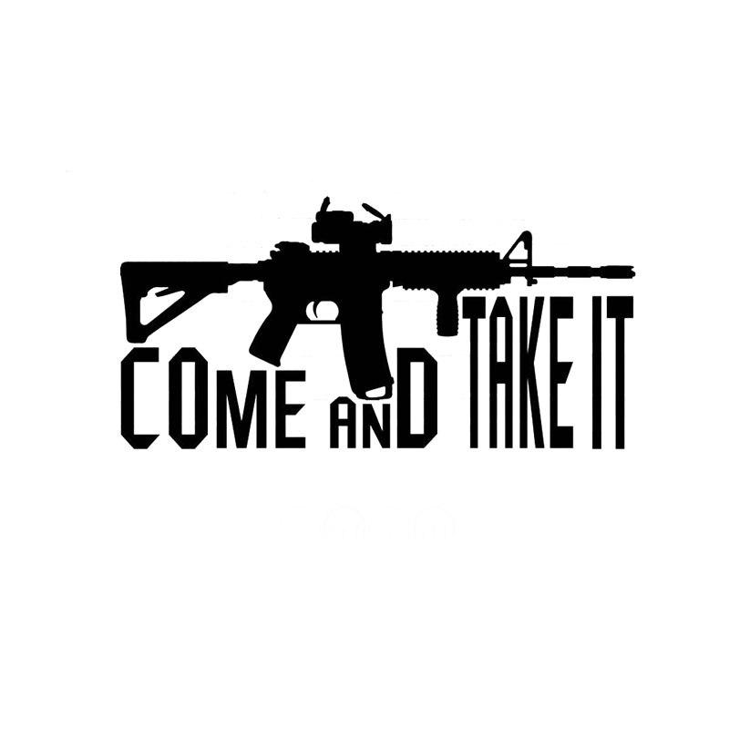 17.8CM*8.8CM Come Take It Vinyl Decal 2nd Amendment Gun Rights Car Sticker Cartoon Reflective Car Styling Black Sliver C8-1260