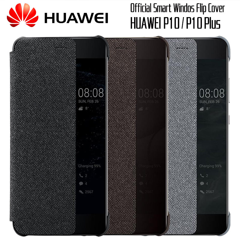 HUAWEI P10 Case Original official Smart View Window Canvas Leather Flip Case HUAWEI P10 Plus Case Business P10 Plus Flip Cover