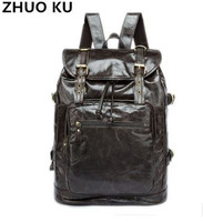 ZHUOKUVintage Genuine Leather Men Backpack Fashion School Bag Men Travel Bag Real Leather Document Laptop Bags Men Backpack Male