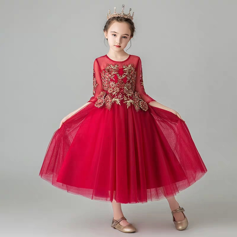 2019Spring Summer Elegant Children girls Wine-red Birthday Wedding Party Princess Mesh Dress Kids Teens O-Neck Costumes Dresses