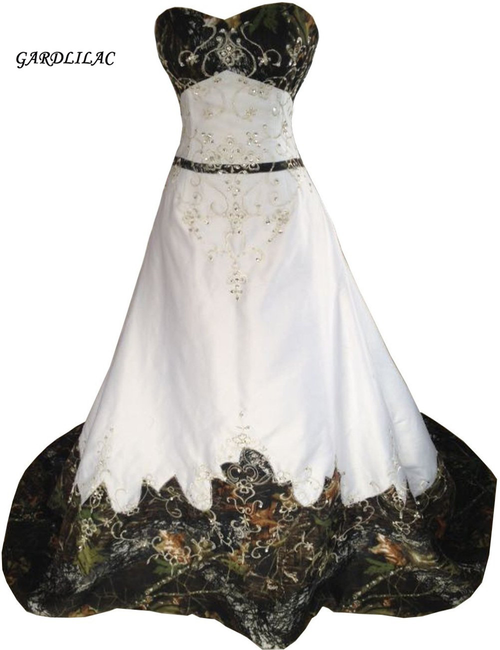 White Camouflage ALineWedding Dresses 2019 Hot Sale Inexpensive Camo  Wedding Dress Bridal Gown Strapless Embroidery Real 43f730f7c413