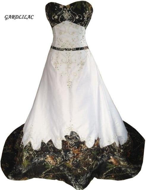 White Camouflage ALineWedding Dresses 2018 Hot Sale Inexpensive Camo ...