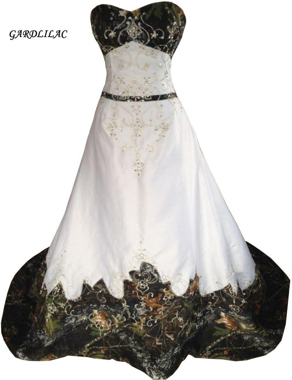 White Camouflage Alinewedding Dresses 2019 Hot Sale Inexpensive