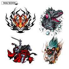 Nicediy Hippie Dragon Patches Knight Iron On Transfers For Clothes Rock Tiger Applique Thermal Washable DIY