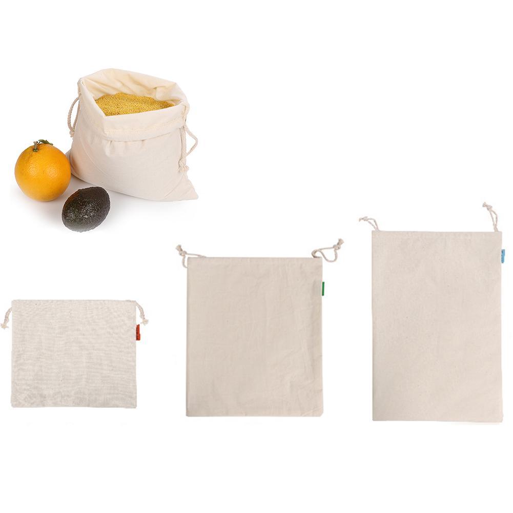 3PCS Shopping Bag Drawstring Cotton Bags Environmentally Friendly Shopper Bag For Bread Fruit Vegetable Supermarket Food Storage