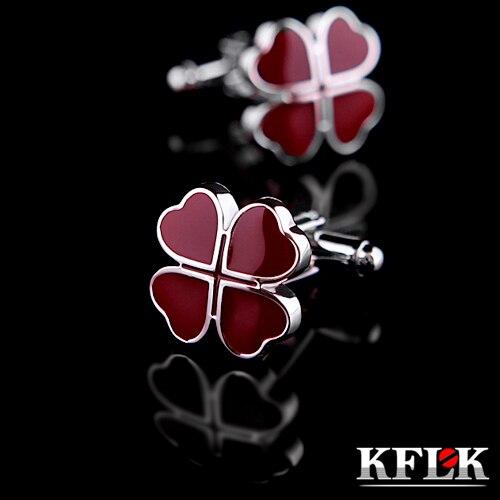 KFLK Luxury 2018 HOT shirt cufflinks for mens gifts Brand cuff buttons Red Clover cuff links High Quality abotoaduras Jewelry
