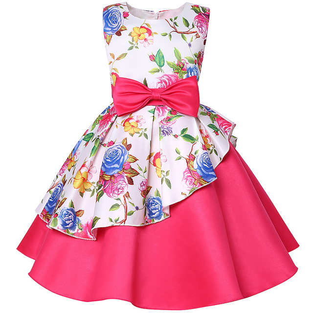 Baby Kids Flower Pretty Birthday Dresses Children Clothing Toddler Wedding Princess Dress Eveving Party Costume Clothes With Bow 2
