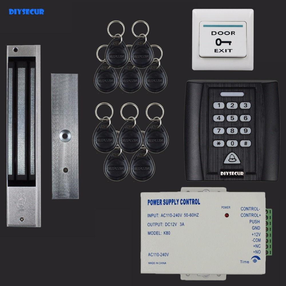 DIYSECUR 125KHz RFID Reader Password Keypad Access Control System Security Kit + 280KG Magnetic Lock Door Lock + Exit Button diysecur 280kg magnetic lock 125khz rfid password keypad access control system security kit exit button k2