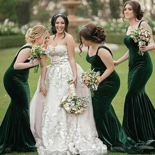 06cfacfd4a US $95.94 22% OFF|Newest Dark Green Velvet Mermaid Bridesmaid Dresses Long  Fitted Backless Honor Country Wedding Guest Dresses Vestidos-in Bridesmaid  ...