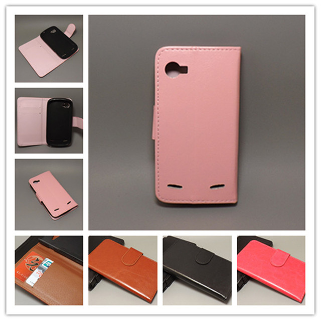 Crazy horse wallet case hold two Cards with 2 Card Holder and pouch slot for ZTE Grand X V970 / Grand X In