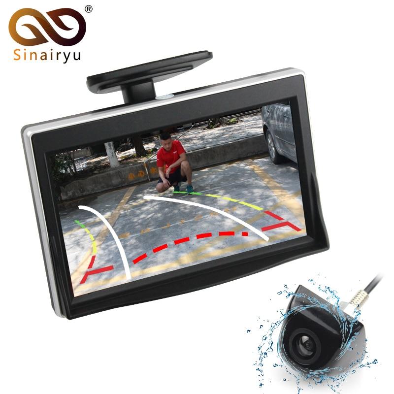 Sinairyu Car Intelligent Dynamic Trajectory Tracks Rear View Camera Reverse Backup Vehicle Camera With 5 inch HD Parking Monitor