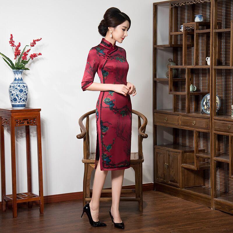 Qipao 8216 Rayonne Cheongsam Femmes L Élégante Chinois Genou De Xl Arrivée Style 32979 Mode M Taille Xxl Robe Leng Nouvelle Xxxl S Ax74n1