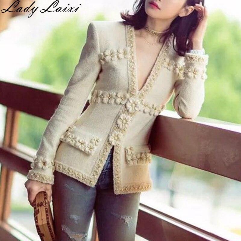 Женская твидовая куртка с глубоким V-образным вырезом, элегантная подиумная куртка с объемным цветочным бисером, элегантная верхняя одежда,...