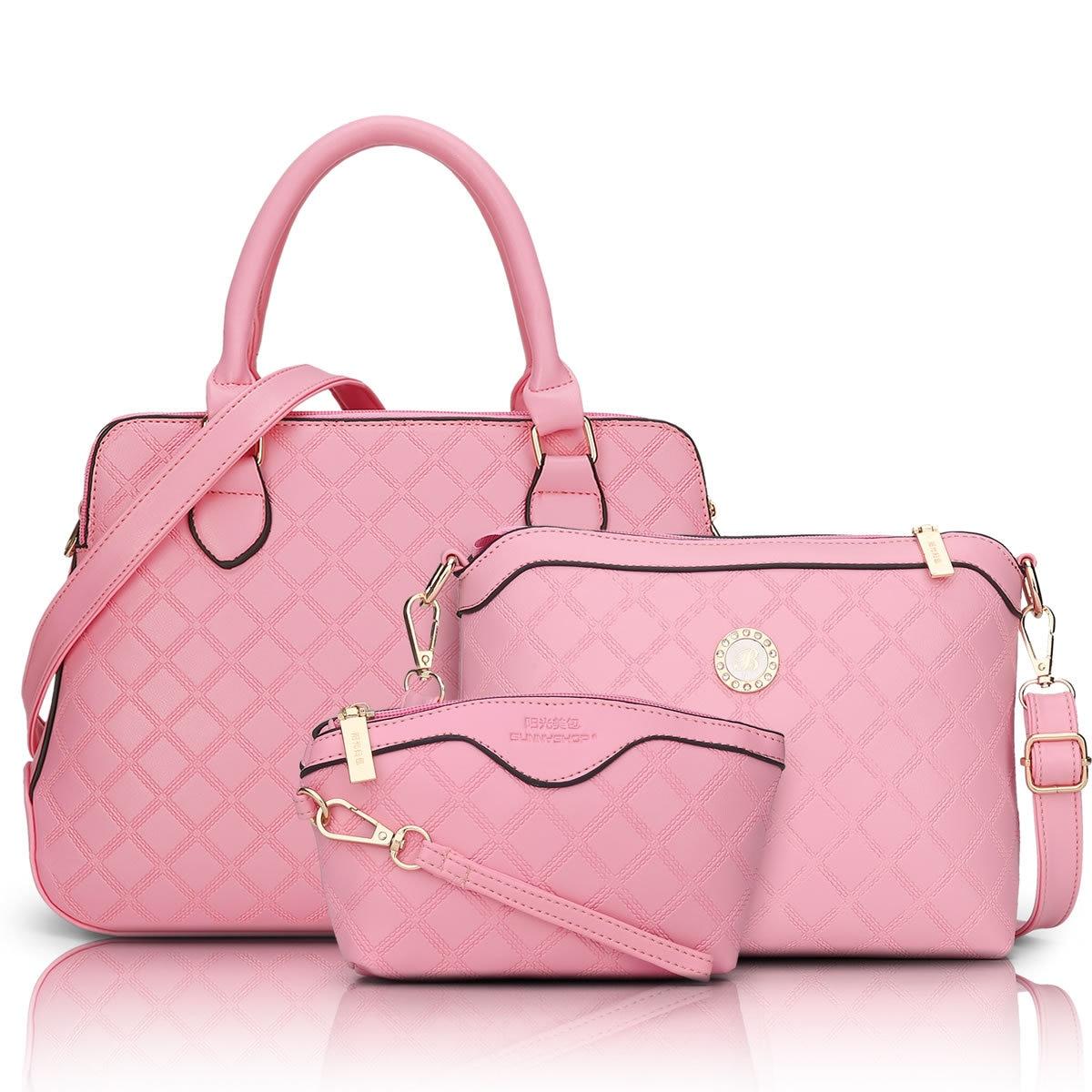 3 Bag/Set  New  Brand Designer Women Bag Plaid Fashion Femal Shoulder Bag High Quality Lady Messenger Bag Pink Color Q5