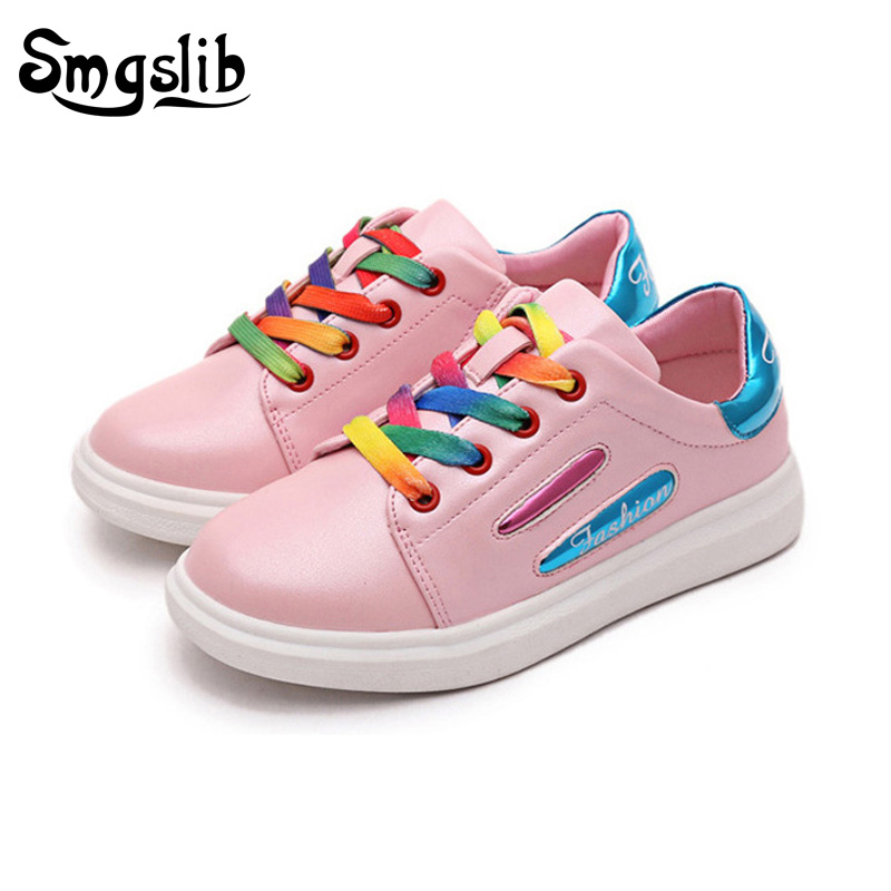 Size27-37 breathable kids shoes Fashion Princess Flat Shoes PU Leather Sneaker Child School Girl Shoes boys sneakers brand