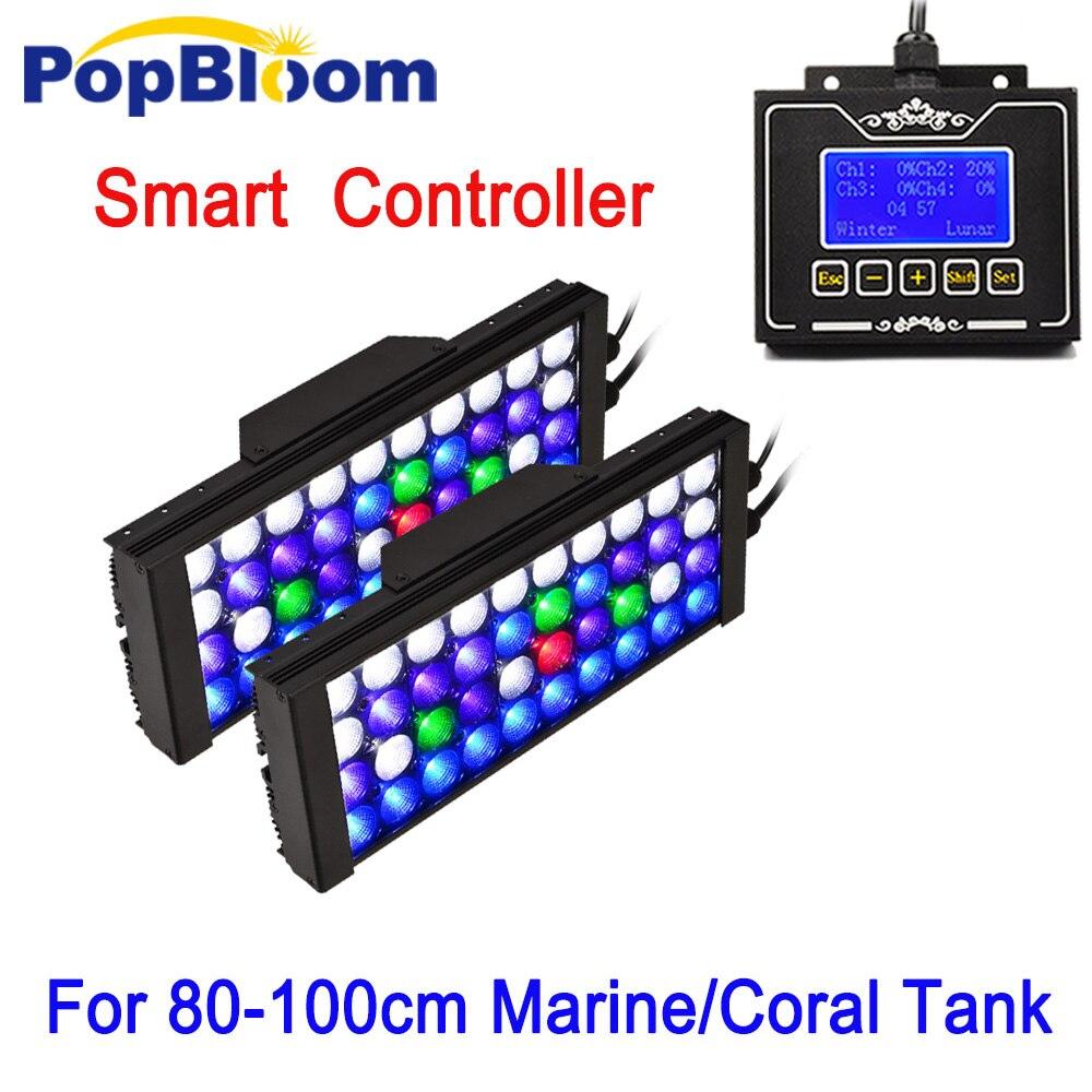PopBloom Led Inteligente Luz Do Aquário Lâmpada Led Programável Luz para recife de coral Do Tanque de Peixes de controle pode ser escurecido marino MJ3BP2 Do Nascer Do Sol