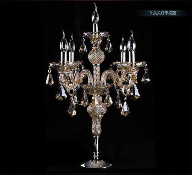 Free envio gratuito de venda direta da fábrica grande candelabro da lâmpada suporte de vela de cristal lâmpada de mesa lâmpada de mesa grande mesa de luz do quarto do hotel