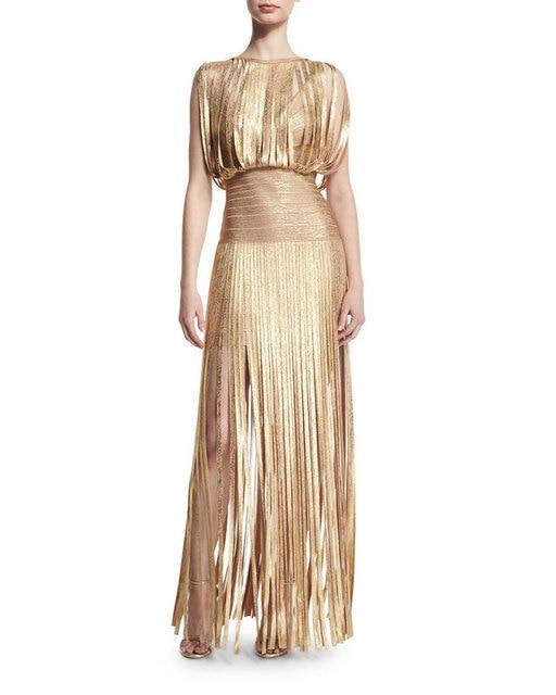 Wholesale Neue lange Kleid Gold und schwarz quaste Dicht Cocktail ...