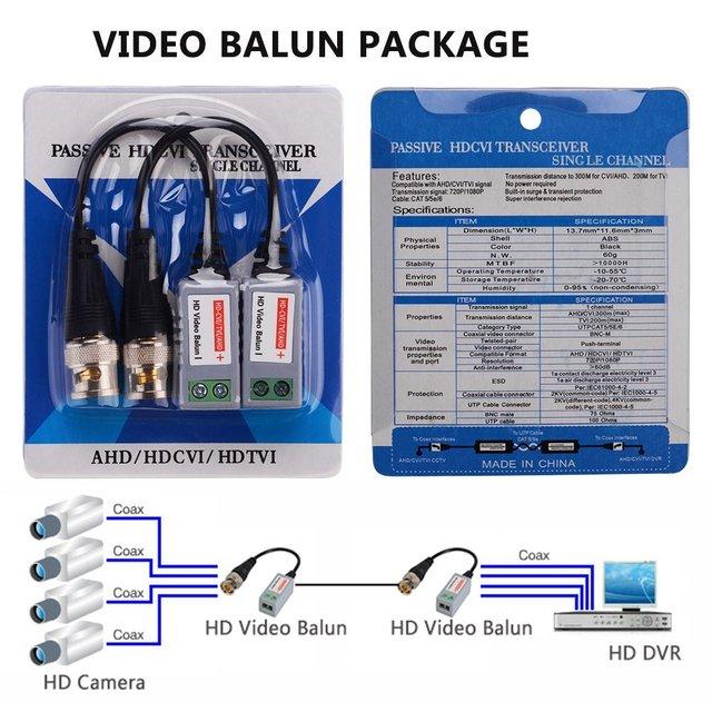 Nowy 20 sztuk (10 par) AHD/CVI/TVI skręcone BNC CCTV Video Balun pasywne urządzenia nadawczo-odbiorcze UTP Balun BNC Cat5 CCTV UTP Balun wideo