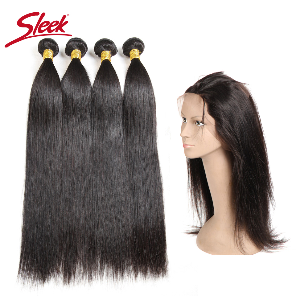 Sleek Peruvian Straight Hair With 360 Full Lace Frontal Remy Human Hair 3 4 Bundles With Frontal Baby Hair Natural Color