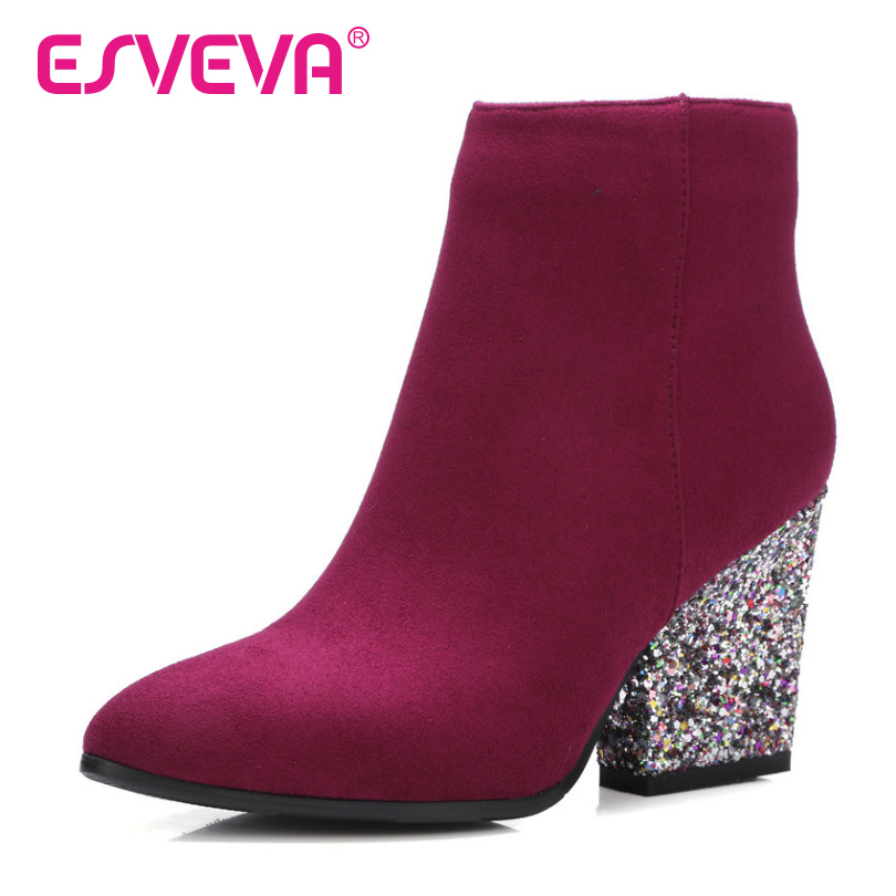 ESVEVA 2017 Zipper Autumn Shoes Women Flock Fashion Boots Ladies Thick High Heel Ankle Boots Party Rhinestone Shoes Size 34-43 morazora fashion punk shoes woman tassel flock zipper thin heels shoes ankle boots for women large size boots 34 43