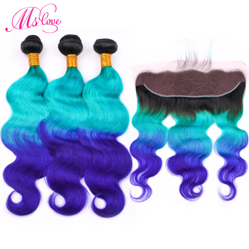 Ms Love Pre Colored 1B Green Blue Body Wave Human Hair Bundles With Lace Frontal Closure
