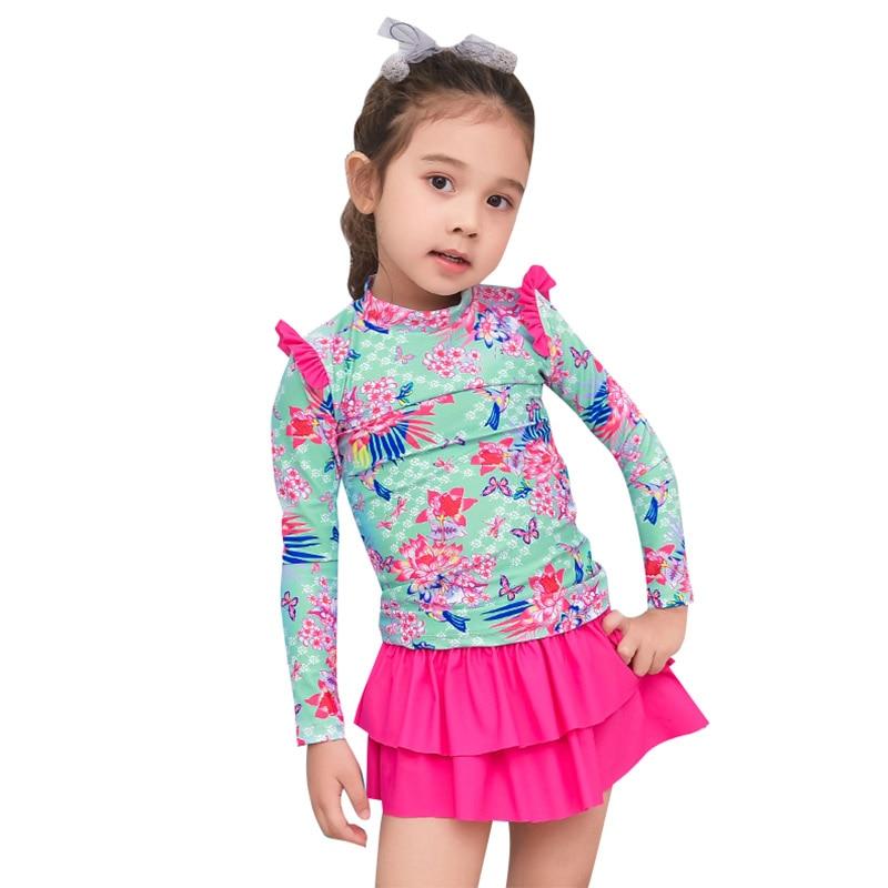 2018 Korean Children Cute Swimsuits Print 3 Pieces Girls Trousers Long Sleeve Uv Protection Skirt Baby Swimwear Children Suit