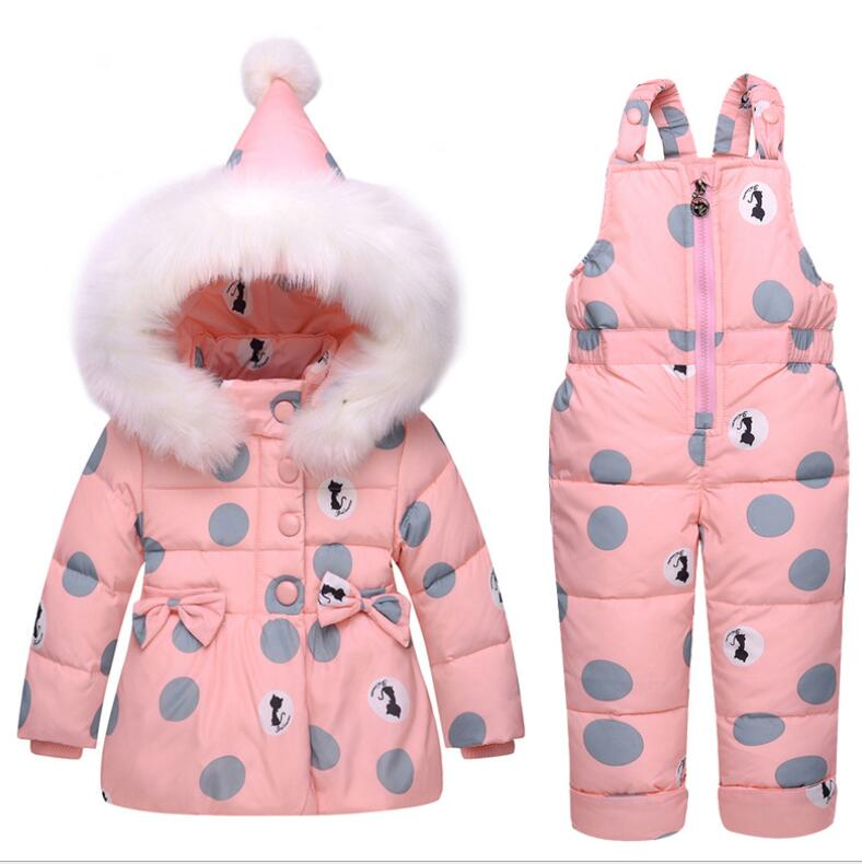 Children Snowsuit Down jacket sets Baby Boys Girls Winter Warm Duck Down Jacket Suit Set Thick Coat+Jumpsuit Clothes Set Kids 2017 spring autumn winter warm children clothes baby girls boys kids ultra light down jacket 90% duck down coat 1 6y new