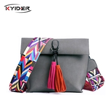 KYIDER 2019 New Women Scrub Leather Design Crossbody Bag Girls With Tassel Colorful Strap Shoulder Bag Female Small Flap Handbag