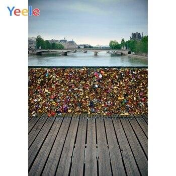 Fondos fotográficos personalizados para estudio fotográfico Yeele Paris Love Lock Bridge madera Board River Holiday