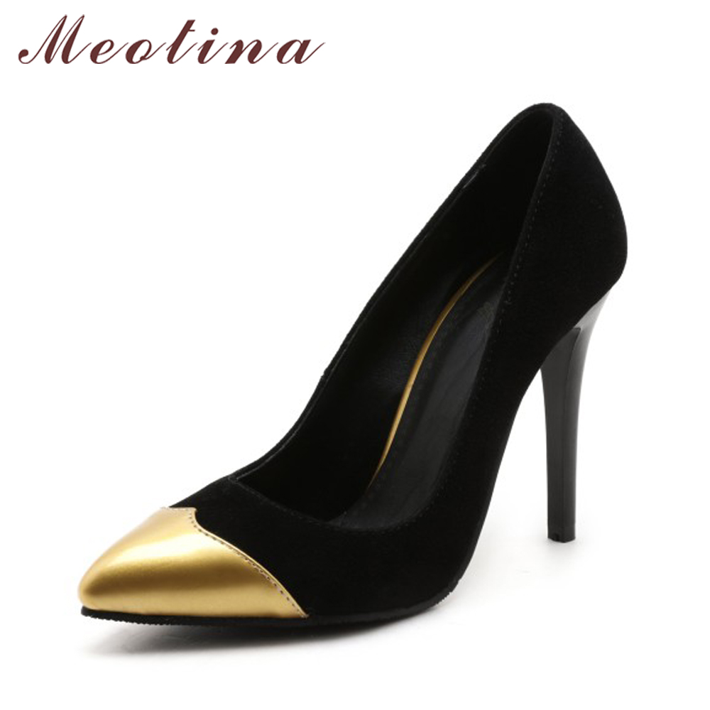 Meotina Shoes Women Pumps Stiletto High Heels Pointed Toe Large Size 46 High Thin Heels Slip On Pumps Office Shoes Gold Silver 2017 shoes women med heels tassel slip on women pumps solid round toe high quality loafers preppy style lady casual shoes 17