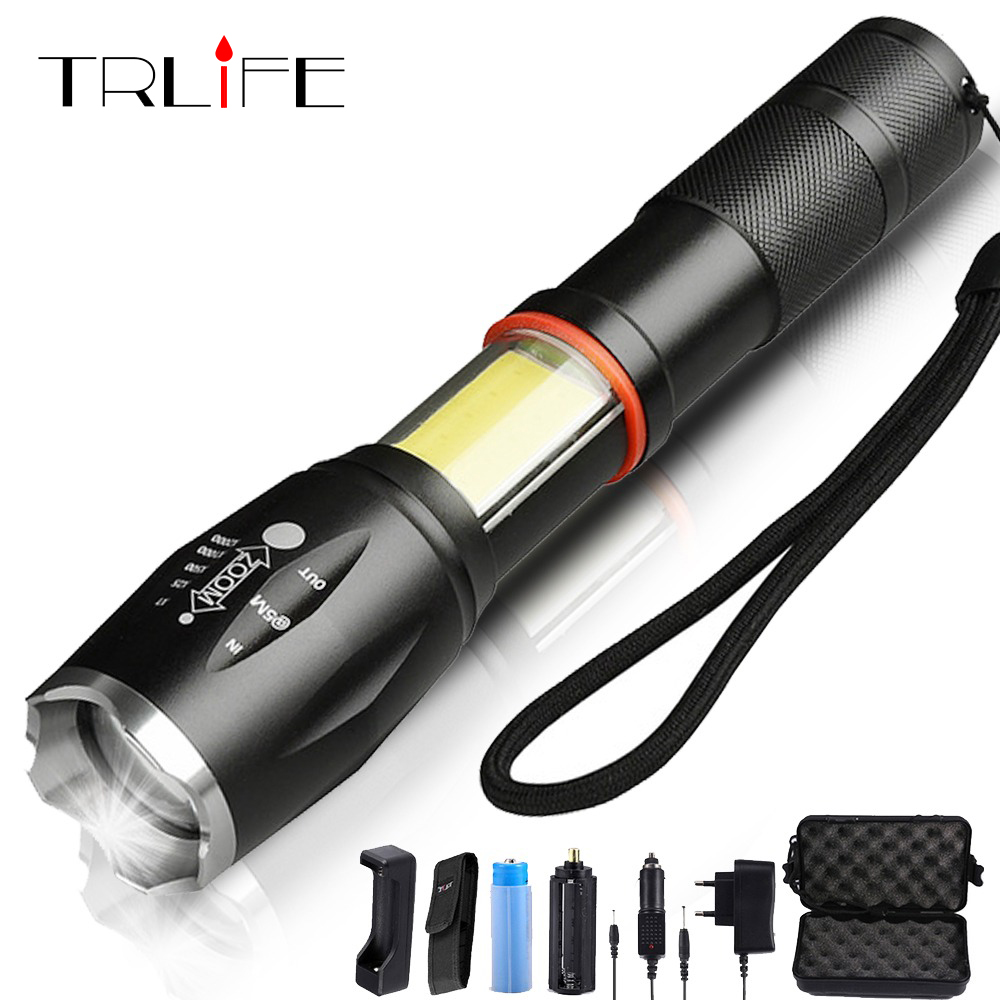 COB Led Flashlight L2/T6 Lanter Torch Hidden Flash Light Tail Super Magnet Design By 18650 Battery For Bike Light