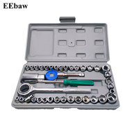 40pcs Combination Socket Wrench Set Drive Ratchet Wrench Spanner Repairing Tool Set Common Sockets Kit Hand Tool Set