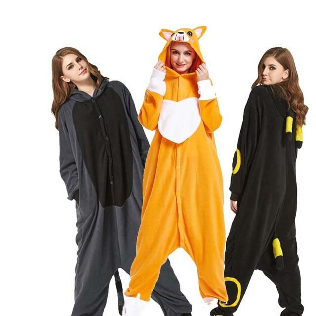 Light Fleece Cartoon Kigurumi Pajamas For Adult Bear Dog Onesies For Halloween One-piece Mouse Pijama Tiger Pyjamas Home Parties