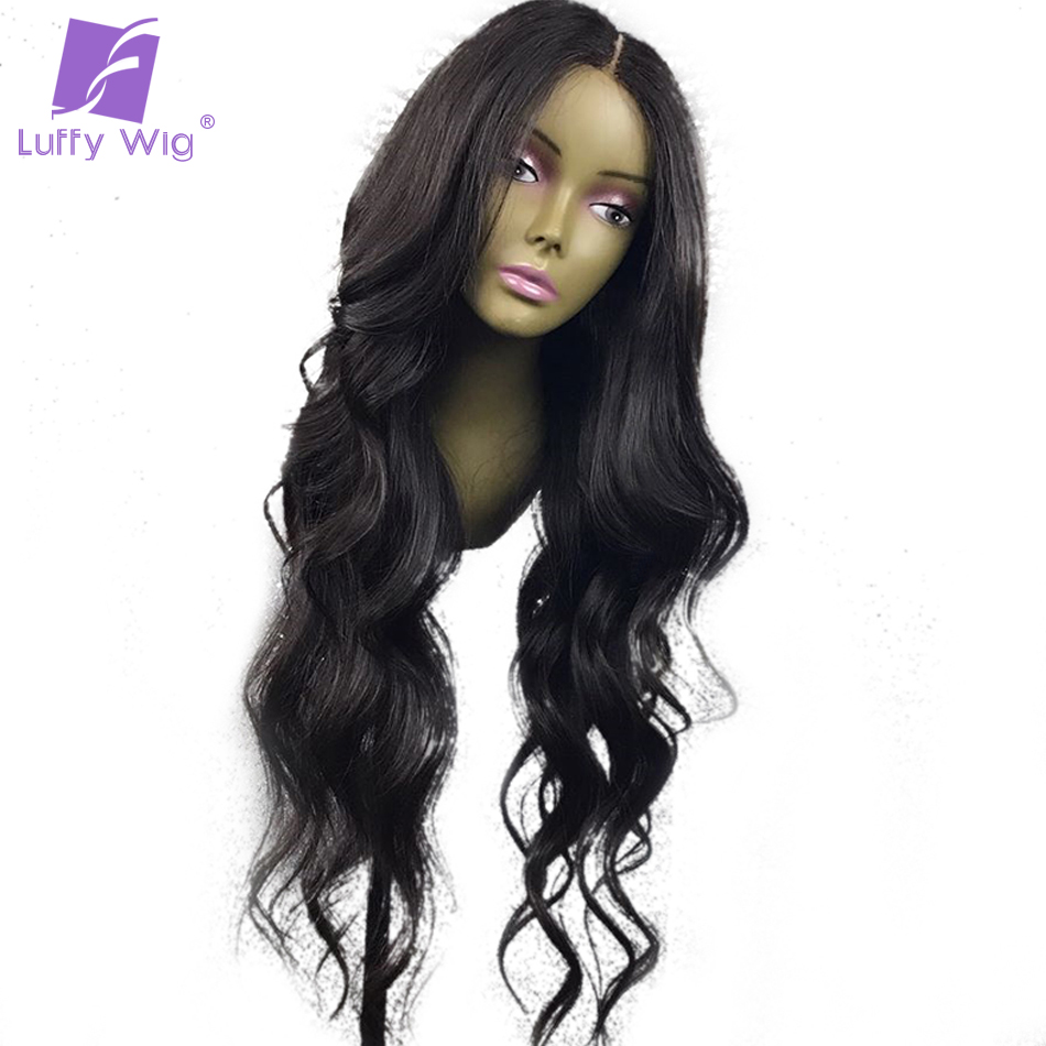 Luffy Wavy 13x6 Lace Front Hair Hairy Hair Brazil Remy Non Remy With - Rambut manusia (untuk hitam)