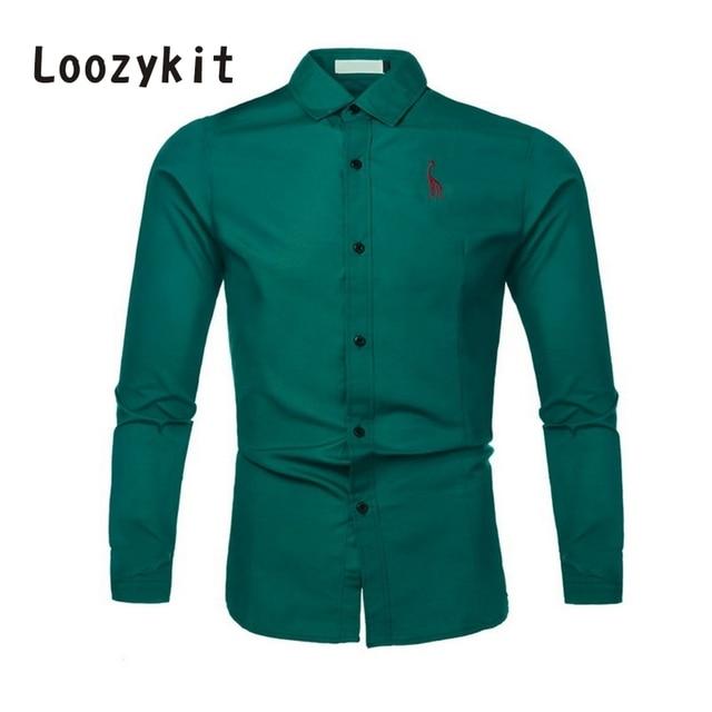 LOOZYKIT 男性のカジュアル固体ドレスシャツ長袖スリムフィットシャツメンズストリートシャツ子鹿刺繍トップス