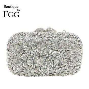 Boutique De FGG Dazzling Silber Blume Frauen Kristall Kupplung Abend Taschen Aushöhlen Hochzeit Party Schulter Handtasche und Geldbörse