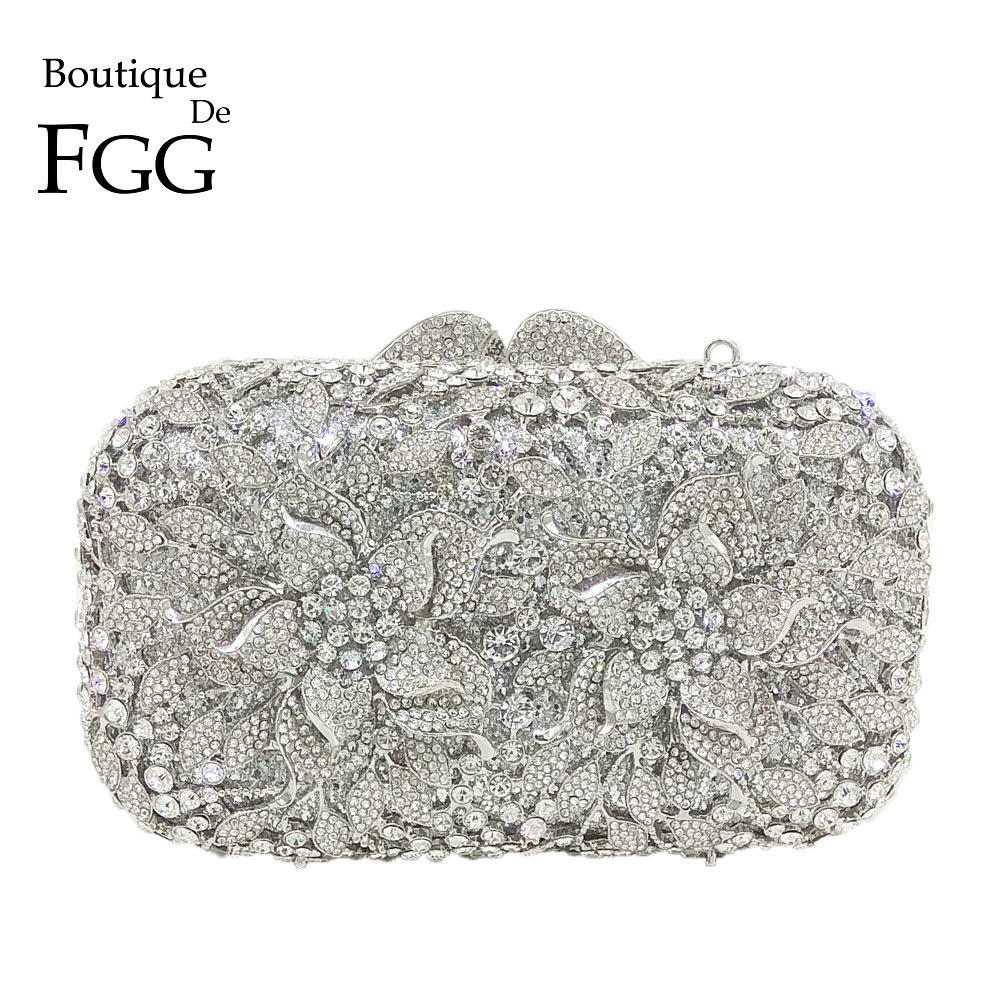 Boutique De FGG Dazzling Silver Flower Women Crystal Clutch Evening Bags Hollow Out Wedding Party Shoulder Handbag And Purse